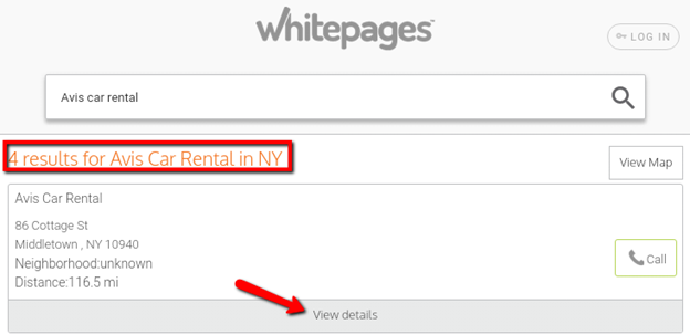 Free whitepages business search results